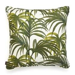 Palmeral Large linen cushion, 60 x 60cm, white/green