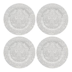 Pure Morris - Strawberry Thief Set of 4 plates, 28cm, grey/white