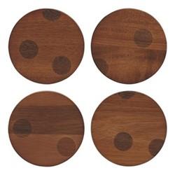 Deco Dot Coasters, acacia wood