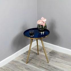 Enamel Side table, W39 x D48 x L39cm, Brass & Navy