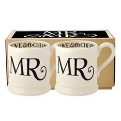 Black Toast - Mr & Mr Pair of mugs, 1/2 pint