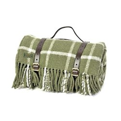 Chequered Check Picnic rug, L145 x W183cm, olive / olive