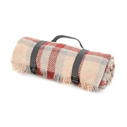 Keith Check Recycled picnic rug, L120 x W150cm, red & silver / grey