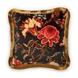 Artemis Medium fringed velvet cushion, 45 x 45cm, black