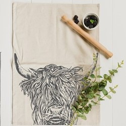 Highland Cow Tea towel, 50 x 70cm