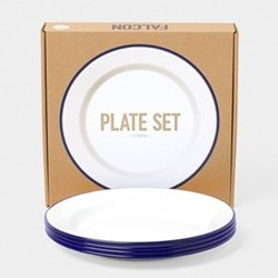 Set of 4 plates, 24cm, white with blue rim