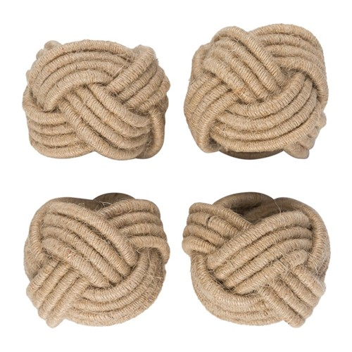Set of 4 knotted napkin rings, Dia4cm