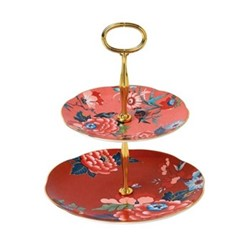 Paeonia Blush Two tier cake stand, coral/red