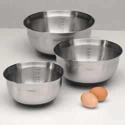 Set of 3 mixing bowls, 1, 1.6 and 3 litre, matt steel