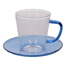 Colour Teacup and saucer, 300ml, blue