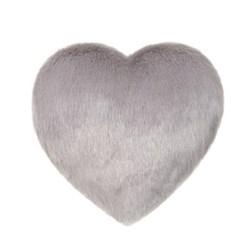 Boudoir Medium heart shaped faux fur cushion, L27 x H29cm, opal