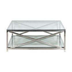 Manhattan Square coffee table, L120 x D120 x H45cm, stainless steel/clear glass