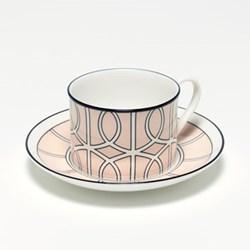 Loop Teacup and saucer, H8.4cm - Saucer 15cm, blush/white (black rim)