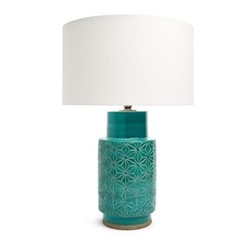 Glentham Table lamp with shade, H52 x Dia35cm, teal