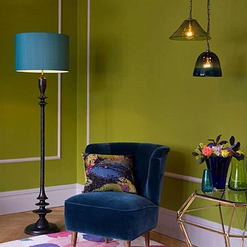 Little Greene - Moonshine Floor lamp, H135 x W30cm, Yellow