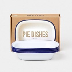 Set of 4 enamel pie dishes, D20cm, white with blue rim