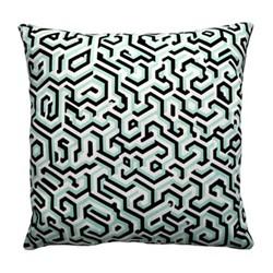 Maze Satin cushion, W40 x L40cm, jade/black/white