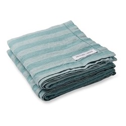 Stripe Linen beach towel, reef green tonal