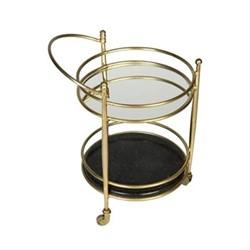 Kensington Two tier drinks trolley, H75 x W55 x D43cm, brass/black