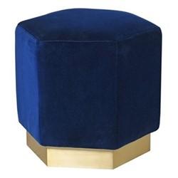 Lounge pouffe, H:50 x W50 x D50, dark blue/velvet