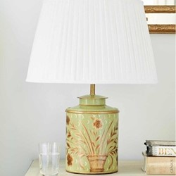 Golden Bouquet Table lamp and silk shade, H35.5 x W18 x D18cm, green/white