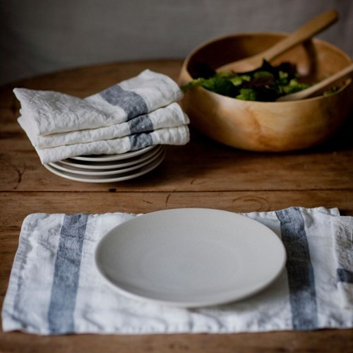 Arles Charcoal Stripe Table Linen