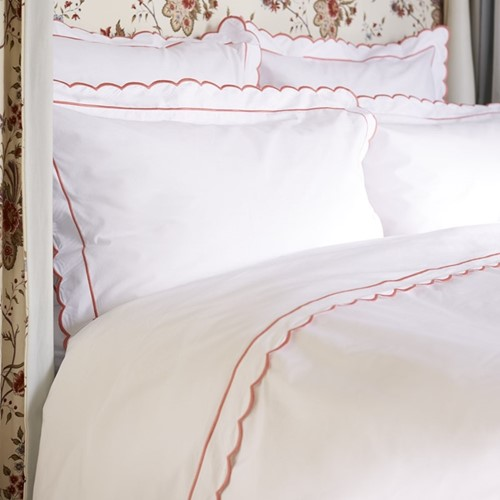 Scallop Bed Linen - Coral